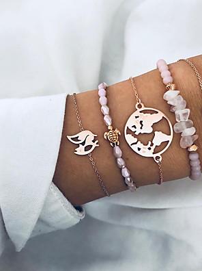cheap Quartz Watches-5pcs Women's Bead Bracelet Wrap Bracelet Pendant Bracelet Layered Maps Heart Turtle Simple Trendy Fashion Stone Bracelet Jewelry Pink For Daily Holiday Work