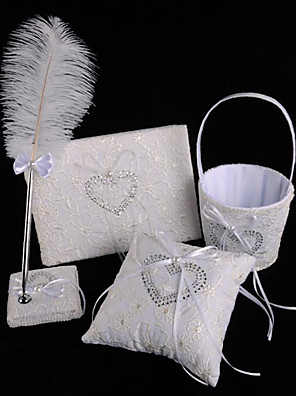 cheap Wedding Veils-Wedding Guest Book / Pen Set / Ring Pillow 53 Feather / Lace Lace / Nonwovens