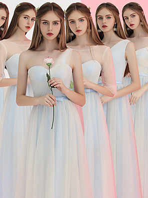 cheap Special Occasion Dresses-A-Line V Neck Floor Length Tulle Bridesmaid Dress with Ruching