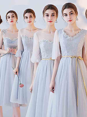 cheap Prom Dresses-A-Line Off Shoulder Tea Length Tulle Bridesmaid Dress with Appliques