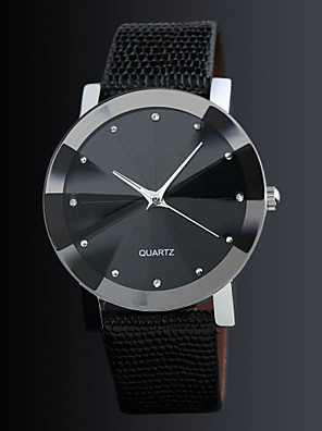 cheap Quartz Watches-Couple's Dress Watch Quartz Casual Casual Watch Leather Black Analog - Black One Year Battery Life / Stainless Steel
