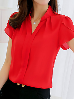 cheap Women's Blouses & Shirts-Women's Shirt Solid Colored Short Sleeve Tops White Blue Red