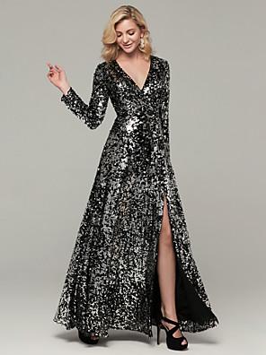 cheap Evening Dresses-A-Line Sparkle Black Party Wear Formal Evening Dress V Neck Long Sleeve Floor Length Sequined with Sequin Split 2020