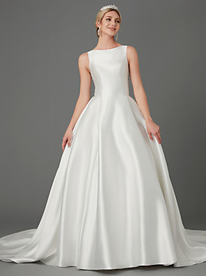 cheap Wedding Dresses-Princess Wedding Dresses Jewel Neck Court Train Lace Satin Sleeveless Elegant with Bow(s) Buttons Appliques 2020