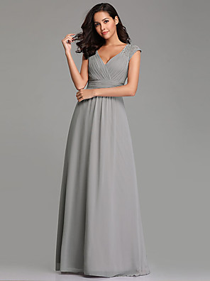 cheap Bridesmaid Dresses-A-Line Plunging Neck Long Length Chiffon Bridesmaid Dress with Pleats