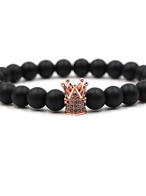 ieftine Ceas Militar-Bărbați Pentru femei Argintiu Auriu Negru Zirconiu Cubic Brățări cu Mărgele Χάντρες Coroane Hip-Hop Piatră Bijuterii brățară Roz auriu / Negru / Auriu Pentru Nuntă Ceremonie Absolvire
