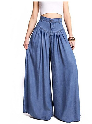 cheap Women's Pants-Women's Basic Plus Size Loose Bootcut Wide Leg Pants - Solid Colored Blue S / M / L