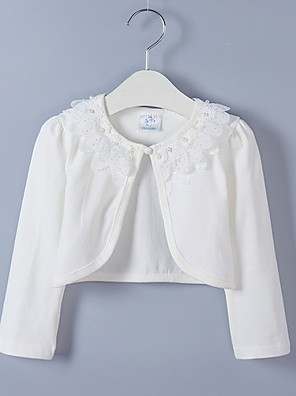 cheap Women's Sweaters-Kids Girls' Street chic Solid Colored Long Sleeve Blouse White