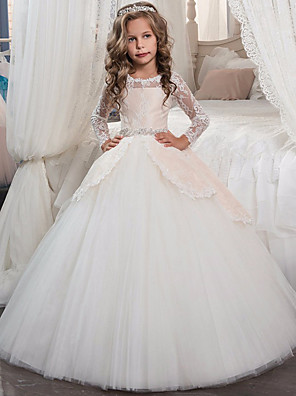 cheap Christening Gowns-Princess Long Length Wedding / Party / Pageant Flower Girl Dresses - Lace / Tulle Long Sleeve Jewel Neck with Lace / Bow(s) / Crystals