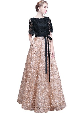 cheap Prom Dresses-A-Line Elegant Formal Evening Wedding Party Dress Jewel Neck Short Sleeve Floor Length Lace with Embroidery 2020