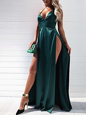 cheap Special Occasion Dresses-A-Line Elegant & Luxurious Open Back Holiday Black Tie Gala Dress Plunging Neck Sleeveless Floor Length Taffeta with Split Front 2020