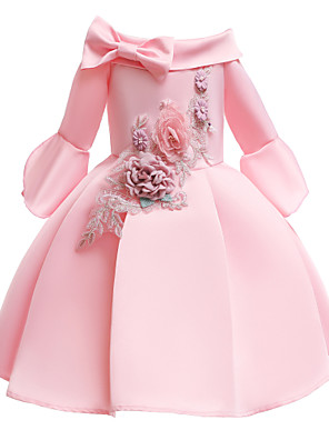 povoljno Haljine za djevojčice-Djeca Dijete koje je tek prohodalo Djevojčice Vintage slatko Jednobojni Rukava do lakta Do koljena Haljina Blushing Pink