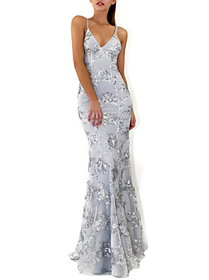 cheap Evening Dresses-Mermaid / Trumpet Sparkle Grey Prom Formal Evening Dress V Neck Sleeveless Floor Length Crepe Sequined with Crystals Sequin 2020