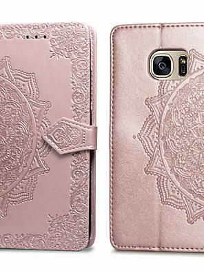 voordelige Samsung-accessoires-hoesje Voor Samsung Galaxy S7 Kaarthouder / Flip Volledig hoesje Effen Zacht PU-nahka