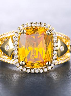 levne Náramkové hodinky-Dámské Prsten Kubický zirkon Citrín 1ks Fialová Žlutá Modrá Pozlaceno 18k Měď Geometric Shape stylové Luxus Lolita aristokrat Dar Rande Šperky láska Cool