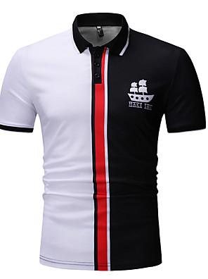preiswerte Herren Polo Shirts-Herrn Polo Einfarbig Oberteile Baumwolle Hemdkragen Weiß Rote
