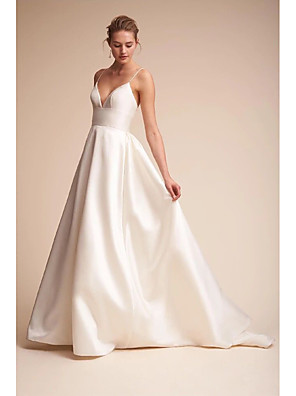 cheap Prom Dresses-A-Line Wedding Dresses V Neck Court Train Satin Spaghetti Strap Little White Dress Open Back Sexy with Draping Side-Draped 2020 / Beautiful Back