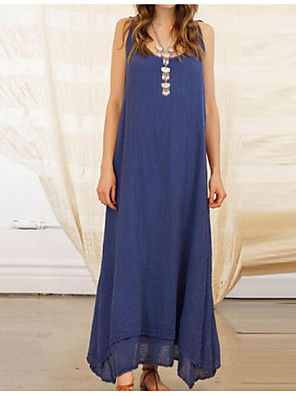 cheap Maxi Dresses-Women's Maxi Blue Black Dress Swing S M
