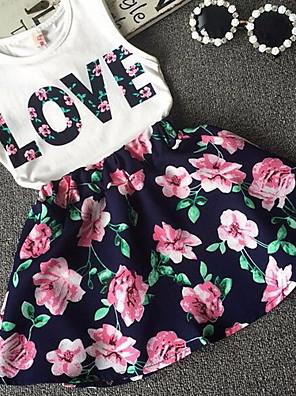 cheap Girls' Dresses-Kids Girls' Floral Print Dress White
