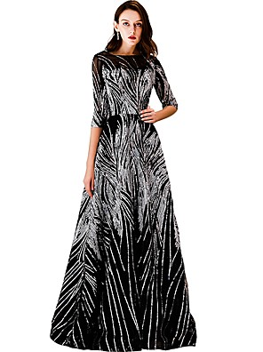 cheap Evening Dresses-A-Line Sparkle Black Prom Formal Evening Dress Boat Neck Half Sleeve Floor Length Tulle with Sequin Pattern / Print 2020