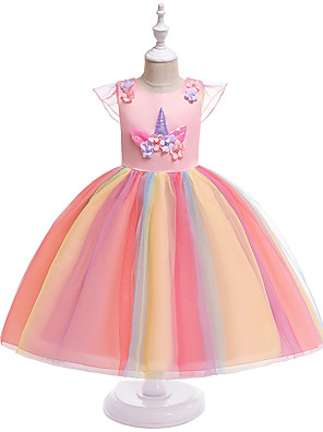 cheap Girls' Dresses-Kids Girls' Active Sweet Unicorn Patchwork Short Sleeve Knee-length Dress Blushing Pink