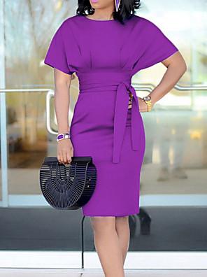 cheap Prom Dresses-Women's Sheath Dress - Short Sleeve Solid Colored Pure Color Fashion Elegant Daily Formal Kentucky Derby Black Purple Yellow Green Light Blue S M L XL XXL XXXL / Sexy