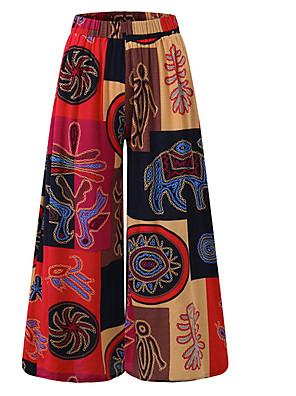 cheap Women's Pants-Women's Plus Size Daily Loose Wide Leg Pants Color Block Purple Red Orange S M L