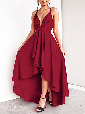 cheap Prom Dresses-A-Line Minimalist Red Holiday Cocktail Party Dress V Neck Sleeveless Asymmetrical Chiffon with Pleats 2020