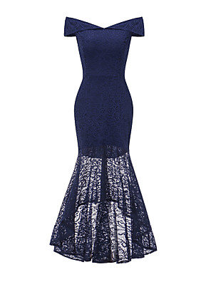 cheap Cocktail Dresses-Mermaid / Trumpet Elegant Vintage Inspired Homecoming Prom Dress Off Shoulder Sleeveless Asymmetrical Lace with Split Front 2020