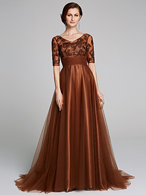 cheap Mother of the Bride Dresses-A-Line Mother of the Bride Dress Elegant & Luxurious V Neck Sweep / Brush Train Tulle Half Sleeve with Appliques Ruching 2020