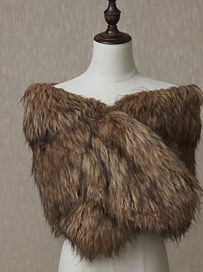 cheap Wedding Wraps-Sleeveless Shawls Faux Fur Wedding / Party / Evening Women's Wrap With Fur