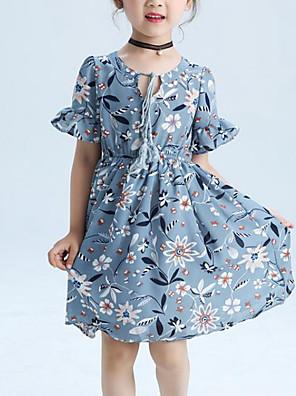 cheap Girls' Dresses-Kids Girls' Active Street chic Floral Ruffle Print Short Sleeve Dress Gray