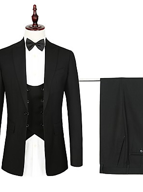 cheap Custom Tuxedo-Navy / Black Solid Colored Standard Fit Polyester Suit - Peak Single Breasted One-button / Suits