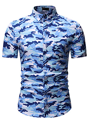 cheap Men's Shirts-Men's Geometric Camo / Camouflage Print Shirt Classic Collar Blue / Army Green