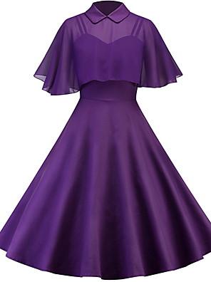 cheap Women's Dresses-Women's A Line Dress - Short Sleeve Solid Colored Shirt Collar Slim Wine Black Purple Blushing Pink S M L XL XXL