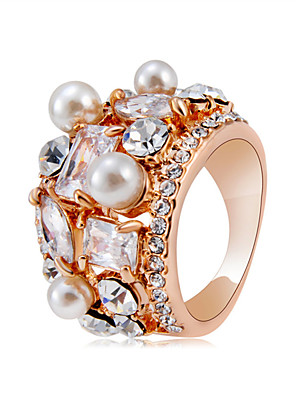cheap Quartz Watches-Women's Statement Ring Ring Crystal 1pc Rose Gold Imitation Pearl Copper Rose Gold Plated Artistic Trendy Hyperbole Party Carnival Jewelry Cool / Imitation Diamond