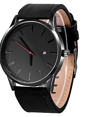 cheap Quartz Watches-Men's Dress Watch Quartz Casual Calendar / date / day Leather Black / Brown Analog - Black / White Black Khaki One Year Battery Life / Stainless Steel