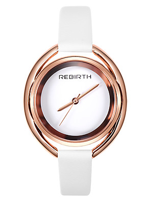 cheap Quartz Watches-REBIRTH Women's Quartz Watches Fashion Elegant Black White PU Leather Quartz Black Silver Rose Gold Creative Casual Watch 1 pc Analog One Year Battery Life