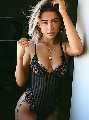 cheap Suits-Women's Lace Mesh Super Sexy Suits Nightwear Solid Colored White / Black S M L / Strap