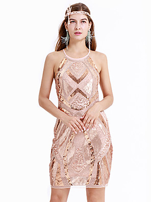 cheap Historical & Vintage Costumes-The Great Gatsby Charleston Vintage 1920s Flapper Dress Party Costume Masquerade Women's Sequins Sequin Costume Beige Vintage Cosplay Party Homecoming Prom Sleeveless Above Knee