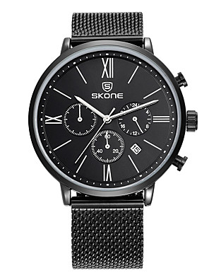 cheap Quartz Watches-SKONE Men's Dress Watch Japanese Quartz Elegant Calendar / date / day Stainless Steel Black / Silver Analog - Black / White White Black Two Years Battery Life