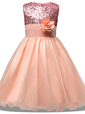 cheap Girls' Dresses-Princess Midi Wedding / Party / Pageant Flower Girl Dresses - Tulle Sleeveless Jewel Neck with Belt / Bow(s) / Appliques