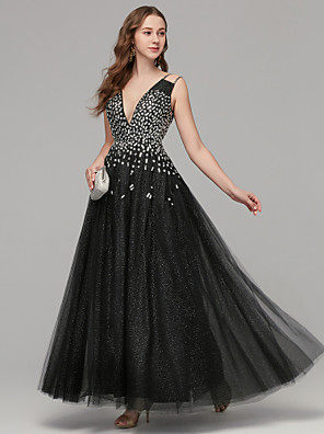 cheap Evening Dresses-A-Line Elegant & Luxurious Elegant Prom Formal Evening Dress Plunging Neck Sleeveless Floor Length Tulle with Pattern / Print 2020