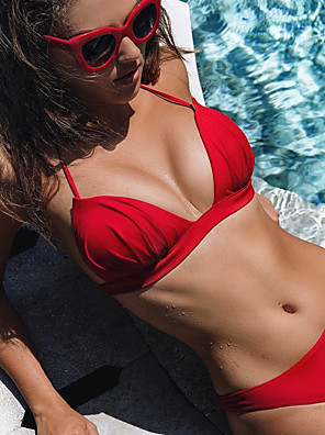 cheap Bikinis-Women's Halter Sporty Basic Bikini Swimsuit Backless Lace up Solid Colored Swimwear Bathing Suits White Black Red Blushing Pink / Padded Bras