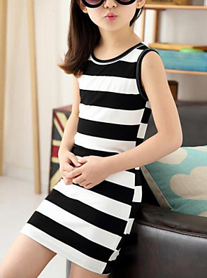 cheap Girls' Dresses-Kids Girls' Cute Street chic Striped Sleeveless Dress Black