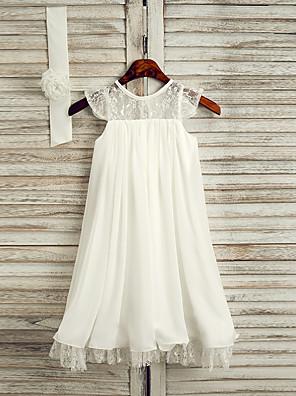 cheap Girls' Dresses-A-Line Tea Length Wedding / First Communion / Holiday Flower Girl Dresses - Lace / Satin Chiffon Sleeveless Jewel Neck with Sash / Ribbon