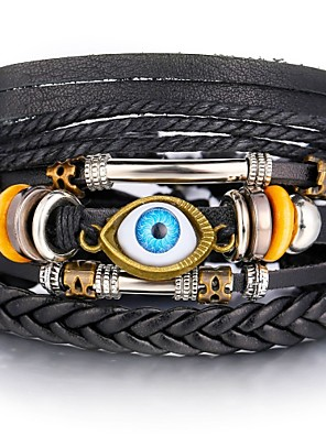 cheap Sport Watches-Men's Leather Bracelet Loom Bracelet Retro Weave Infinity Evil Eye Classic Vintage European Casual / Sporty Leather Bracelet Jewelry Black For Street Holiday Going out Work