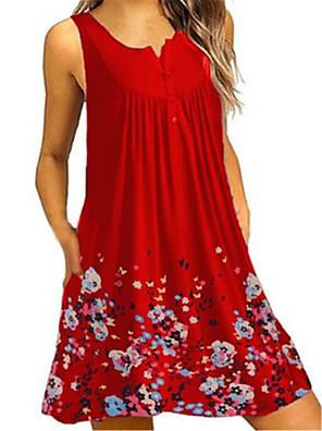abordables Vestidos de Mujer-Mujer Morado Rojo Vestido Básico Túnica Floral Escote en Pico M L Corte Ancho / Algodón