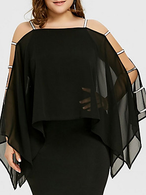 cheap Plus Size Dresses-Women's Plus Size Sheath Dress - Long Sleeve Solid Colored Cut Out Summer Square Neck Basic Black Purple Red S M L XL XXL XXXL XXXXL XXXXXL