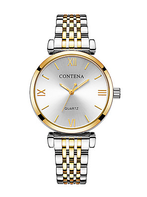 cheap Quartz Watches-Women's Dress Watch Quartz Luxury Shock Resistant Stainless Steel Silver / Gold / Rose Gold Analog Digital - Gold / Silver Rose Gold Champagne One Year Battery Life